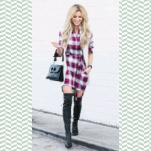 💥gap & pendleton red plaid shirt dress x-small